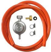 HPCR газовый шланг 200 см, редуктор GOK 30 мбар, штуцер усиленный для шланга 10 мм, хомуты усиленные (H05)