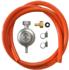 HPCR газовый шланг 150 см, редуктор GOK 30 мбар, штуцер усиленный для шланга 10 мм, хомуты усиленные (H03)